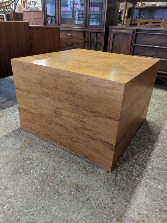 Mid Century Modern Milo Baughman Inspired Burlwood Cube Table