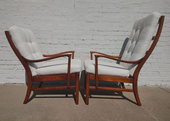 Mid Century Modern Solid Walnut Side Chairs by Parker Knoll