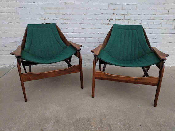 Mid Century Modern Jerry Johnson Walnut Sling Chairs, A Pair
