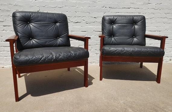 Mid Century Modern Scandinavian Illum Wikkelso Teak Chairs