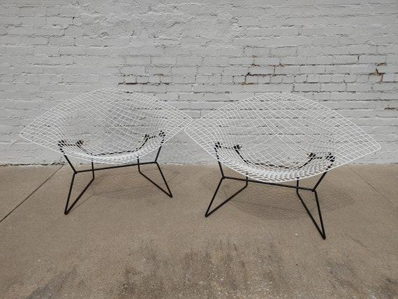 Mid Century Modern Bertoia Large White Wire Diamond Chairs