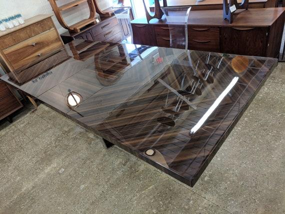 Mid Century Modern Milo Baughman Style Chrome Trimmed Dining Table