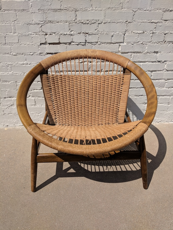 Mid Century Modern Danish Oval Rope Chair