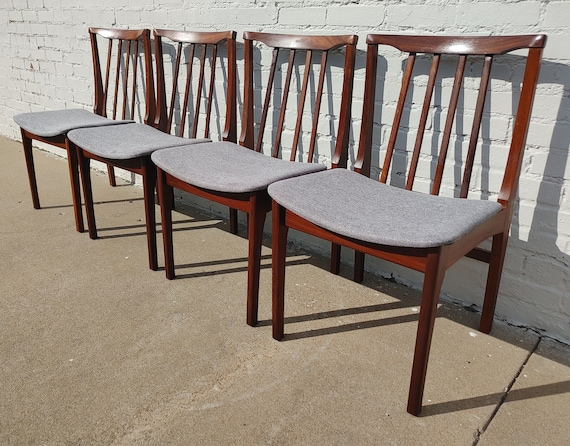 Mid Century English Modern Solid Teak Dining Chairs