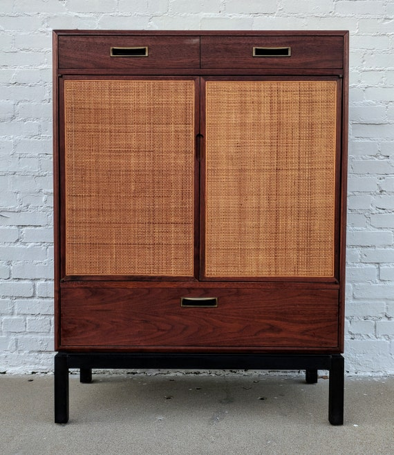 Mid Century Modern Jack Cartwright for Founders Cane Front Armoire