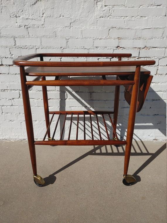 Mid Century Modern Solid Walnut Drop Leaf Rolling Bar