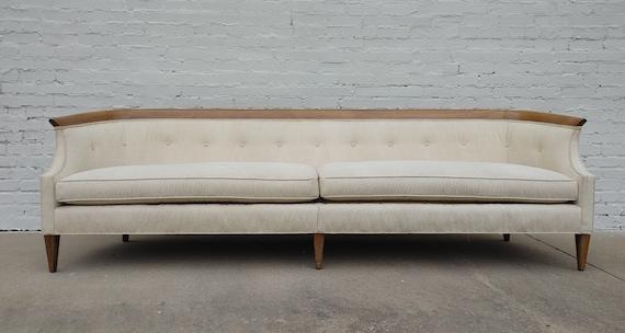 Mid Century Modern Drexel Walnut Trim Sofa