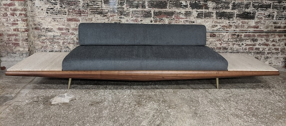 Mid Century Modern Adrian Pearsall Walnut and Travertine Sofa