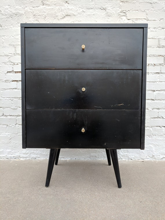 Mid Century Modern Paul McCobb Black Lacquer Three Drawer Dresser