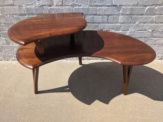 Mid Century Modern Solid Walnut Sculptural Coffee Table