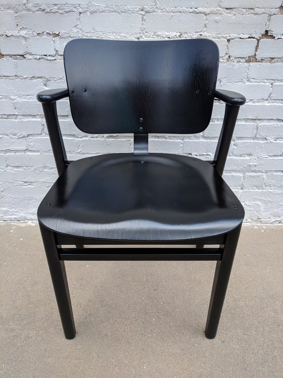 Mid Century Modern Black Lacquer Domus Side Chair