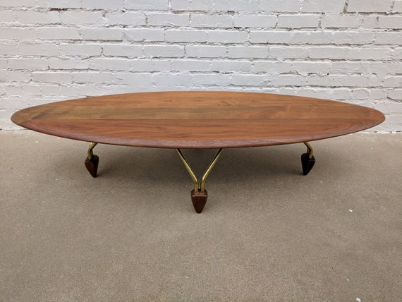 Mid Century Modern Solid Walnut Surfboard Coffee Table