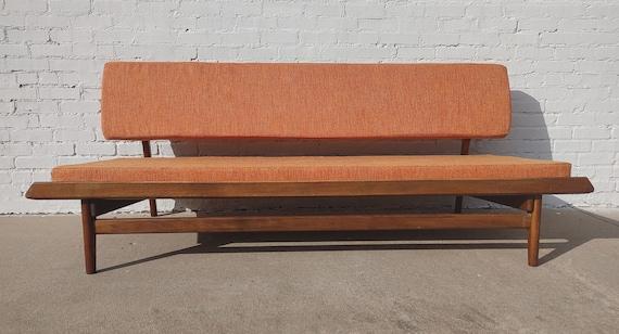 Mid Century Danish Modern Solid Walnut Daybed Sofa