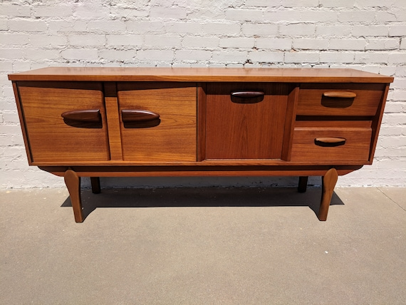 Mid Century Modern Danish Inspired Drop Front Credenza