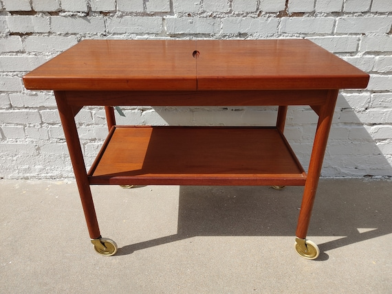 Mid Century Modern Danish Teak Sliding Top Bar Cart