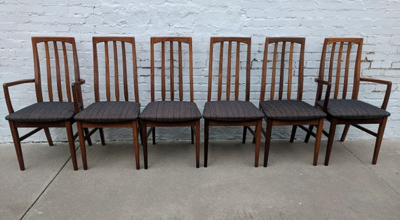 Mid Century Modern Danish Inspired Solid Wood Dining Chairs Set of 6