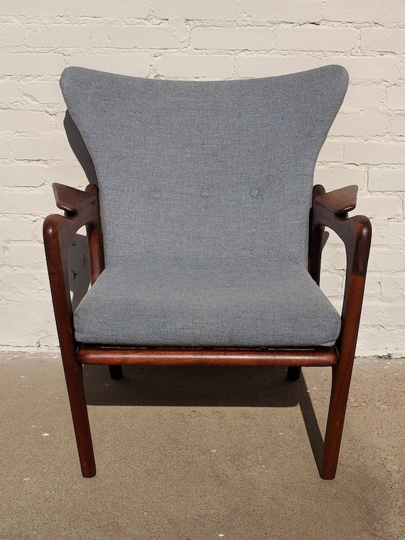 Mid Century Modern Adrian Pearsall Solid Walnut Sculptural Lounge Chair