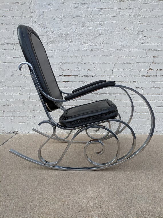Mid Century Modern Chrome and Naugahyde Rocker by Jansen
