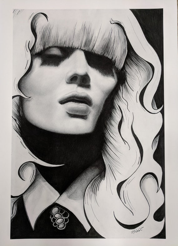 Mod Girl. Giclée Print of Graphite Drawing