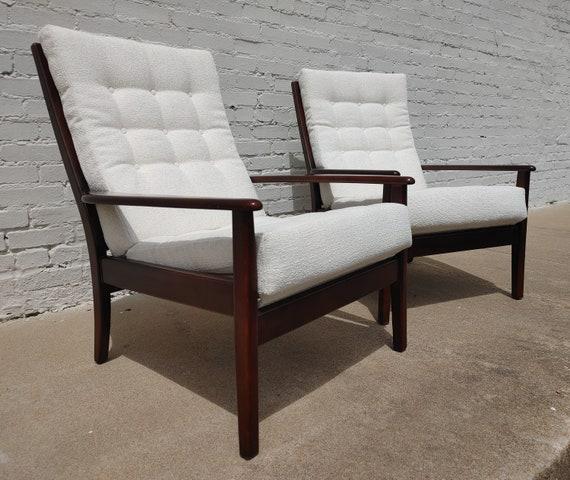 Mid Century Modern Solid Walnut English Side Chairs
