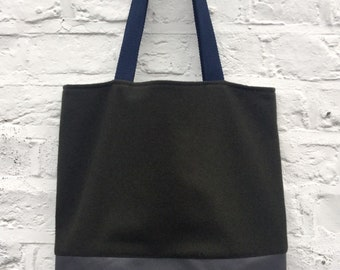 Leather bottom tote   Etsy