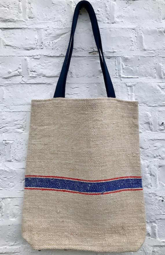 Tote bag. Vintage grain sack tote bag. Handwoven. Blue and red stripes.