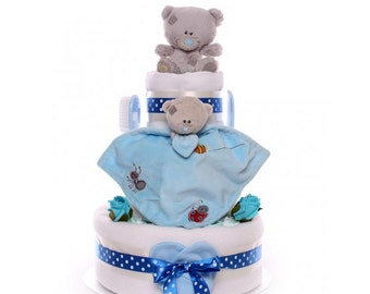 Tatty Teddy Nappy Cake Baby Boy, Nappy cake with Tatty Teddy Comforter and Toy, large nappy cake, 3 tier nappy cake