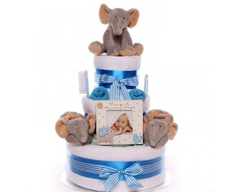Nappy Cake with Elephant Soft Toy and Booties for a Baby Boy.