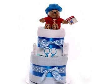 2 Tier Paddington Bear Nappy Cake.