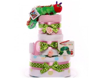 The Very Hungry Caterpillar Nappy Cake Girl, nappy cake gift baby girl, maternity leave gift, baby shower gift, large nappy cake