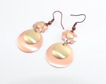 Flower Love Dangling Copper Earrings