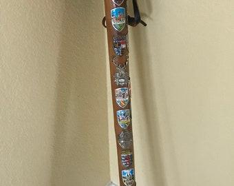 Vintage German Walking Stick Cane Carved Wanderstock w/ 44 Badges Stocknagel 39