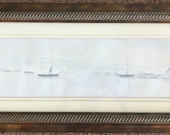Framed and Matted Original Seascape Watercolor Signed Haney