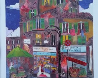 """LINNEA PERGOLA """"Campo di Fiori"""" - Limited EdItion Seriolithgraph on Paper"""