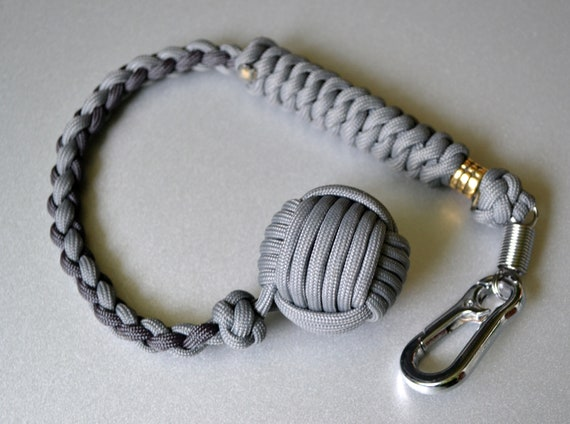 """Nice! Paracord Monkey Fist Heaving End BROWN//SILVER 1"""" Steel Ball  Core"""