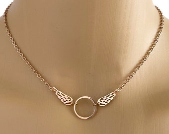 Submissive Day Collar - Rose Gold Angel Wings - BDSM O Ring Necklace - Locking Option
