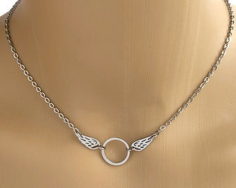 BDSM O Ring Submissive Day Collar - Angel Wings Necklace - Locking Options - 24/7 Wear