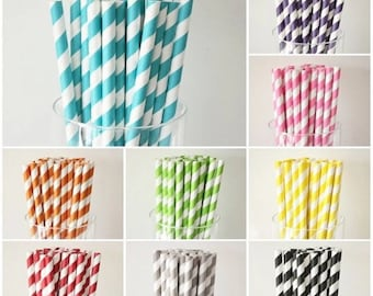 20 striped paper straws in different colors