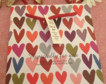 5 gift bags with colored hearts with especially for you writing
