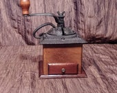 Vintage Wood and cast iron coffee mill grinder, free shipping