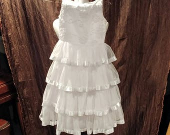 6f051282ace1 Communion/ Flower Girl Dress, white ribbons and pearls, size 7 free shipping