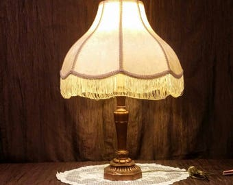 Vintage Table Lamp With Brocade Bell Shade, Free Shipping