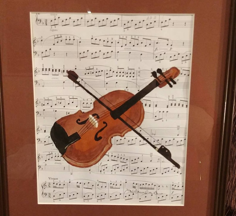 Original acrylic painting violin on classical sheet music, free shipping