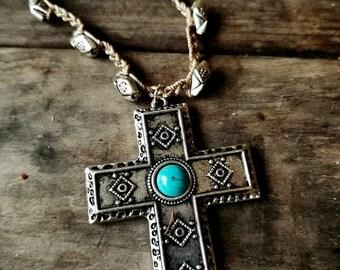 Rustic Crochet Cross Pendant Necklace