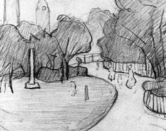 L S Lowry Peel Park Sketch, 1919