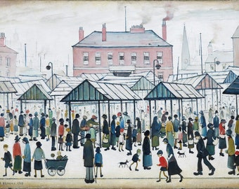 L S Lowry Market Scene, Northern Town, 1939