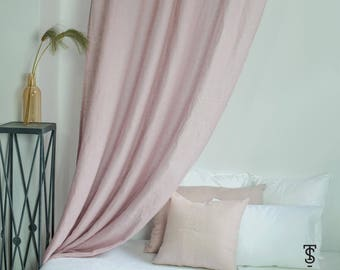 """Linen Canopy Bed Panel 57"""" x 118"""" , Canopy Bed Drape, Canopy Bed Curtains, Linen Curtain Panel, Linen Curtain, curtain for nursery"""