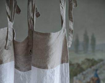 Linen Curtains, White Linen Curtain, Sheer Linen Panel, Custom Curtains, Window Panel Curtain, Sheer Cafe Curtain, Top Ties Linen Curtains