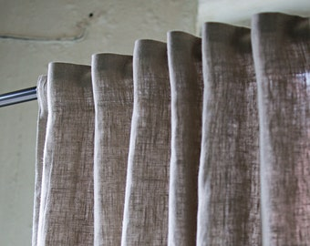 Heavy Linen Curtain Panel in Grey Color, Grey Linen Curtains, Window Curtains Heavy, Burlap Window Panel, European Flax Living Panel,