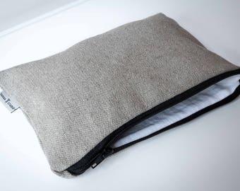 Linen Zipper Pouch, Linen Cosmetic bag, Zipperd Linen Organiser, Pencil Pouch